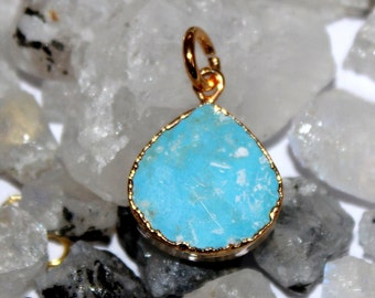 1 Pc Turquoise Heart Pendant Connector with 24k Gold Electroplated Edges- Gold Plated Heart Turquoise Pendant - Single Loop Pendant HL28