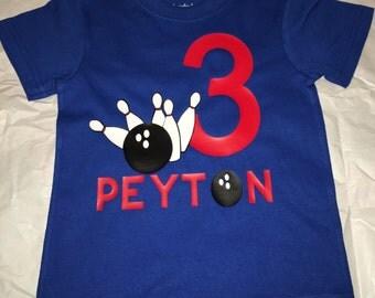 Personalized Bowling Birthday Shirt Kids Bowling Birthday Shirt Custom Birthday Bowling Shirt