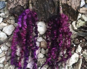 Purple People Eater: Hand-Dyed Wensleydale Earrings