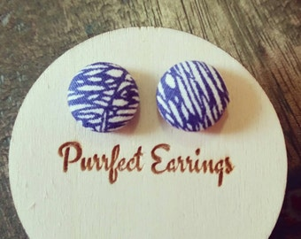 Handmade 12mm blue and white button earrings