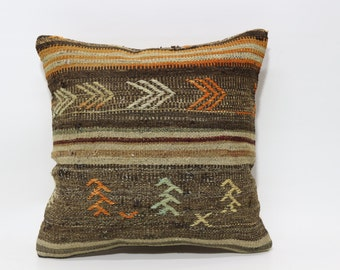 Decorative Kilim Pillow Throw Pillow Home Decor Cushion Cover 20x20 Turkish Kilim Pillow Ethnic Pillow Naturel Cushion Cover SP5050-1526