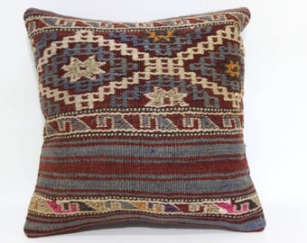 Throw Pillow Ethnic Pillow Floor Pillow Boho PillowVintage Pillow Striped Pillow 14x14 Decorative Kilim Pillow SP3535-243