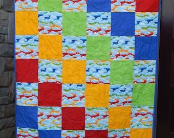 Rainbow Baby Quilt, Crib Quilt, Baby Boy Quilt, Nursery Decor, Baby Blanket, Modern Baby Quilt