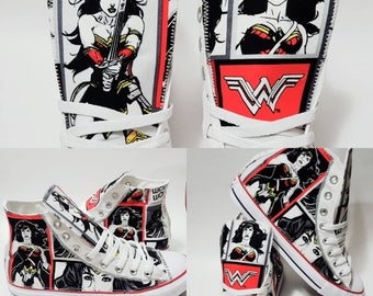 Wonder Woman, wonderwoman Converse shoes, superhero Chucks, bedazzled sneakers, superhera birthday party by hallwayzdesigns