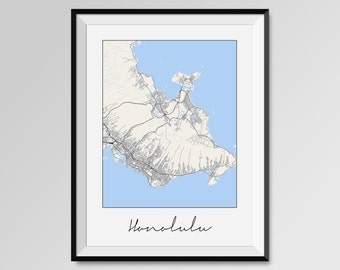 Honolulu Map, Rectangular Street Map Art Print, COLORS - black and white, blue, red, yellow, violet