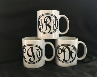 Monogram coffee mugs personalized. FREE SHIPPING to US