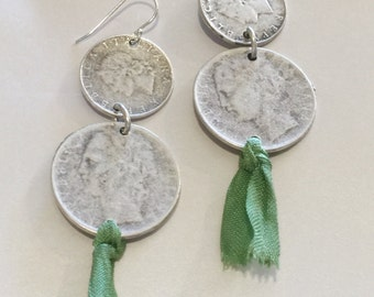Coin drops with green silk