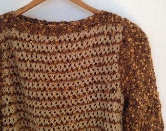 late 70s early 80s tan and brown pullover sweater