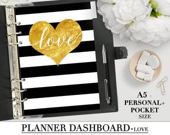 """Printable DASHBOARD for your Pocket, Personal and A5 Planner_""""Love""""_Planner Divider_Printable divider_Filofax planner Heart gold style"""