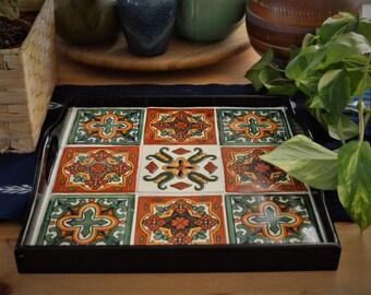 Serving tray,coffee table tray,ottoman tray,wood tray,tile tray,Mexican,housewarming gift,talavera tile, wedding gift,boho,organization
