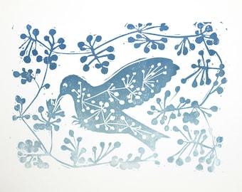 Little bird in berries. Original prints. Linocut / hand printed
