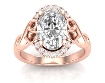 Rose Gold Engagement Ring Oval Halo Ring Vintage Ring 14K Halo For Her Semi Mount Oval Center New Setting Colorless Forever One Moissanite