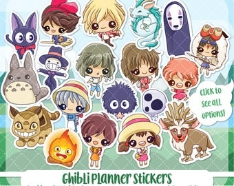Studio Ghibli planner stickers, totoro stickers, fantasy stickers, anime stickers, kawaii stickers, erin condren, Cute planner stickers
