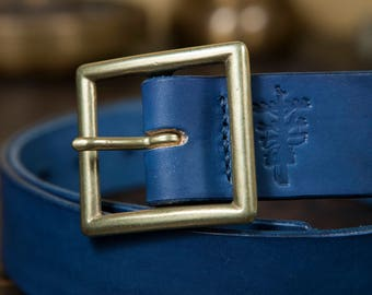 "1.5"" Natural Indigo Dyed Leather Garrison Belt with Japanese Brass Buckle Handmade to order in Los Angeles"