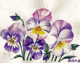 ORIGINAL Watercolor Pansies, Original Pansy Art, Watercolor Wall Decor, Floral Watercolor Art, Original Watercolor Painting, Watercolor Gift