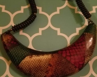 Bib necklace snakeskin multicolor tribal ethnic breastplate resin and wood