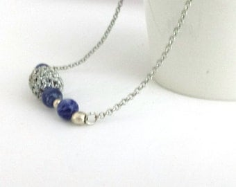 Handmade beaded necklace and sodalite, crochet beaded necklace, crochet necklace, beaded necklace handmade, statement necklaces