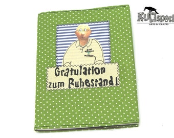Green book, portrait, company logo, fabric green, dots, logo embroidered, spotted, Made in Germany, german handmade, farewell gift, Goodbye