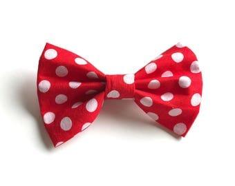 Onara Bow - Red Polka dot Bow ~ Fabric bow ~ Lace Head band ~  Pigtail Bows ~ Baby Headband ~ Adult Headband ~Red and white bow bow