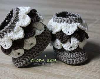 Baby shoes / baby boots Haylie with scales in Brown cream 0-3 months