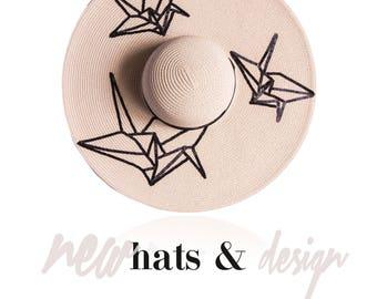 Origami Crane - Beige color hat- wide brim - exclusive design -brim 7inch