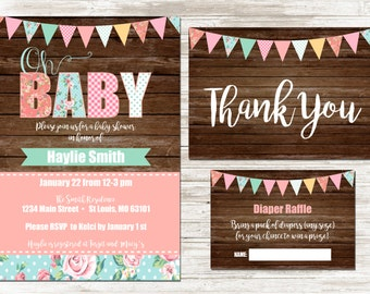 Shabby Chic Baby Shower Invitation | Digital Baby Shower Invitation