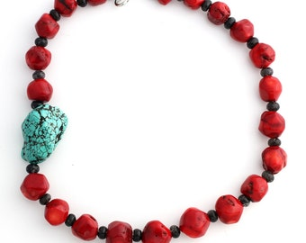 Red Coral enhanced with Howlite Turquoise necklace    KC4189
