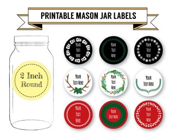 Printable DIY Christmas Labels, Holiday Labels, 9 Designs, 2 Inch Round, Editable, PDF, DOCX