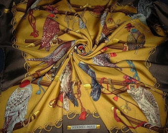 "HERMES 100% Silk Scarf ""The birds of le Roy"" by Latham COLLECTOR Hermes"