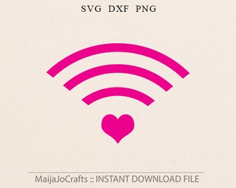 Heart WiFi svg Valentine SVG Valentines day svg wi fi sign Wi-Fi Dxf files Valentines Dxf Cricut downloads Silhouette designs Cricut designs