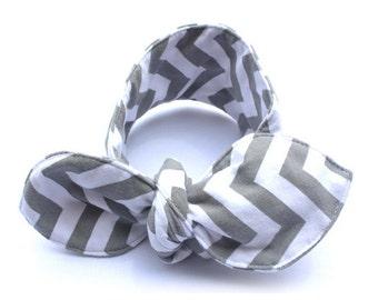 Gray And White Stripes Headband - the Geraldine Headband