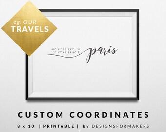 Printables - Custom City Coordinates - Paris Print - Calligraphy Art Print - Coordinates Print - Art Print - GPS Latitude and Longitude 1