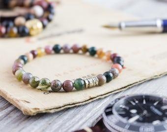 6mm - Green indian agate stone beaded stretchy bracelet, made to order yoga bracelet, mens bracelet, womens bracelet, bead bracelet