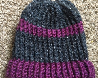 Grey and purple childs hat