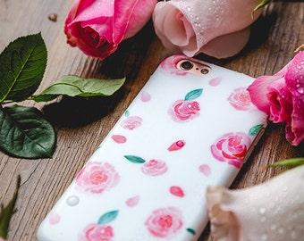 iPhone 7 PLUS Case iPhone Case 7 Plus - La Vie en Rose - Vintage Rose - Watercolor - Ultra slim - Matte