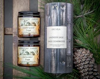 Soy Scented Candle Gift Set, LAVENDER SAGE, Cedarwood Sage, best friend gift