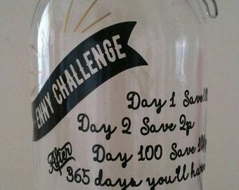 Penny Challenge Saving Jar and Money Box