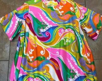 1960's Lane Bryant psychedelic vintage women zipper blouse