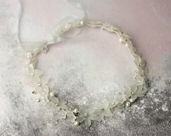 Bridal Hair Vine, Flowers, Freshwater Pearls