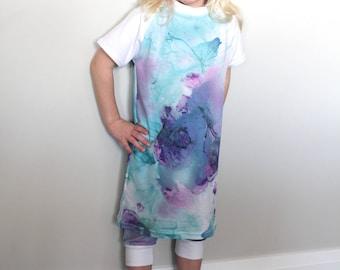 Tie Dye Baseball Tee Dress - jersey knit dress, girls dress, purple dress, blue dress, baseball dress, toddler dress, baby dress,shirt dress