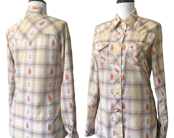 Vintage Embroidered Horse Patterned Plaid Western Shirt — S/M