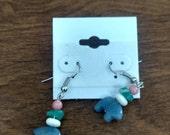 Blue stone bear earrings