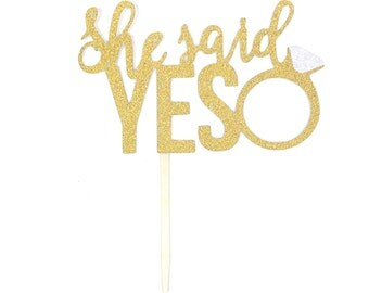 1 pc SHE SAID YES Ring cake topper script fonts gold glitter wedding bridal Shower bachelorette party