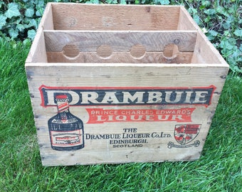 Vintage Wooden Crate - Drambuie Wooden Crate Box - Wooden Crate - Wooden Liquor Crate - Edinburgh Scotland Wooden Crate Drambuie Liquer