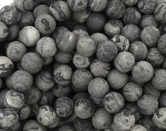 """6mm matte grey leopard skin jasper round beads 15"""" strand 38684"""