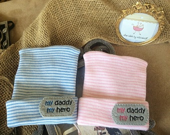 My daddy my hero Twin Hospital hats,  Newborn Beanies, Newborn, bow option, pink and blue beanies, hero daddy Hospital hat