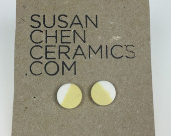 Yellow and white porcelain earrings