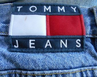 Vintage 90s Tommy Hilfiger Large Flag Patch Logo Cotton Denim Jeans Hip Hop Hipster Retro 5 Pocket Grunge Mens Size 42 Waist