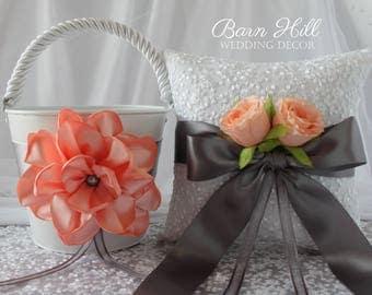 Ring Bearer Pillow, Flower Girl Basket, Wedding Ring Pillow, Peach, Gray, Wedding, Rustic Wedding, White Lace, Peach Wedding