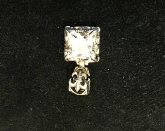 SILPADA® Retired Zirconia Silver Fleur de Lis Filigree Pendant pre-owned (LdR)